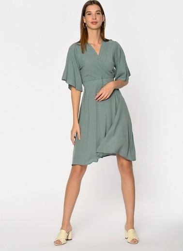 Loves You Anvelop Krinkıl Elbise Yeşil